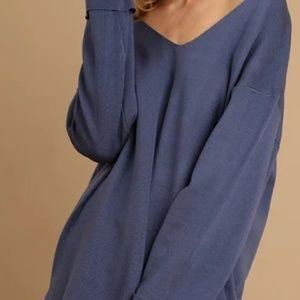 Umgee Marine Blue Hi Low Sweater